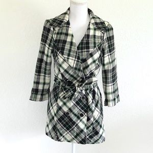 HEARTSOUL • PLAID DOUBLE-BREASTED RUFFLE PEA COAT